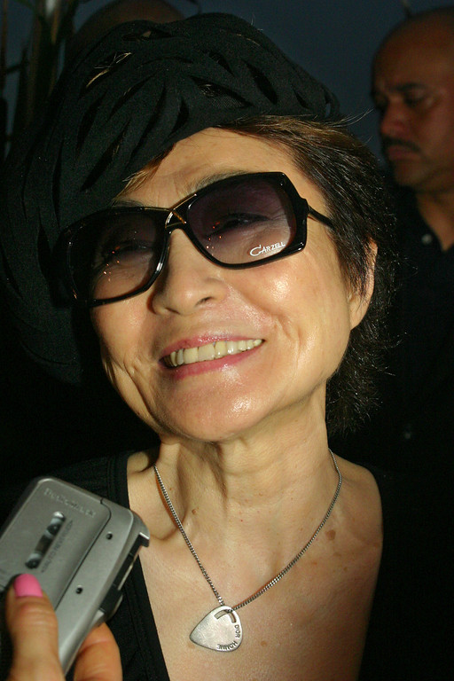 . Yoko Ono arrives for the New York Restoration Project opening ceremony of the Peter Jay Sharp Boathouse on the Harlem River and the opening of Swindler Cove Park Thursday, June 17, 2004, in New York.  (AP Photo/Tina Fineberg)