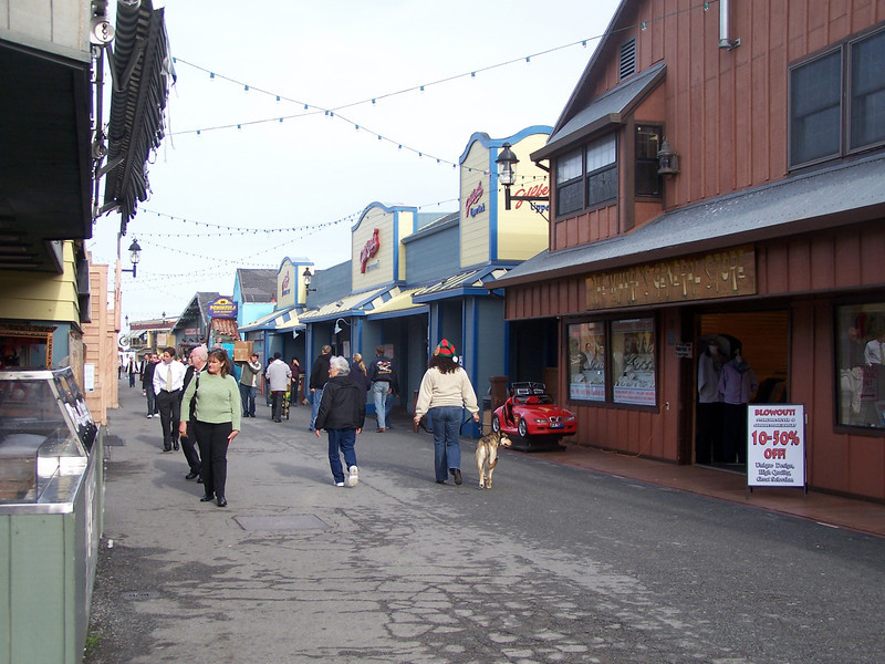 Shops and restaurants along Fisherman's Wharf, Monterey, CA.