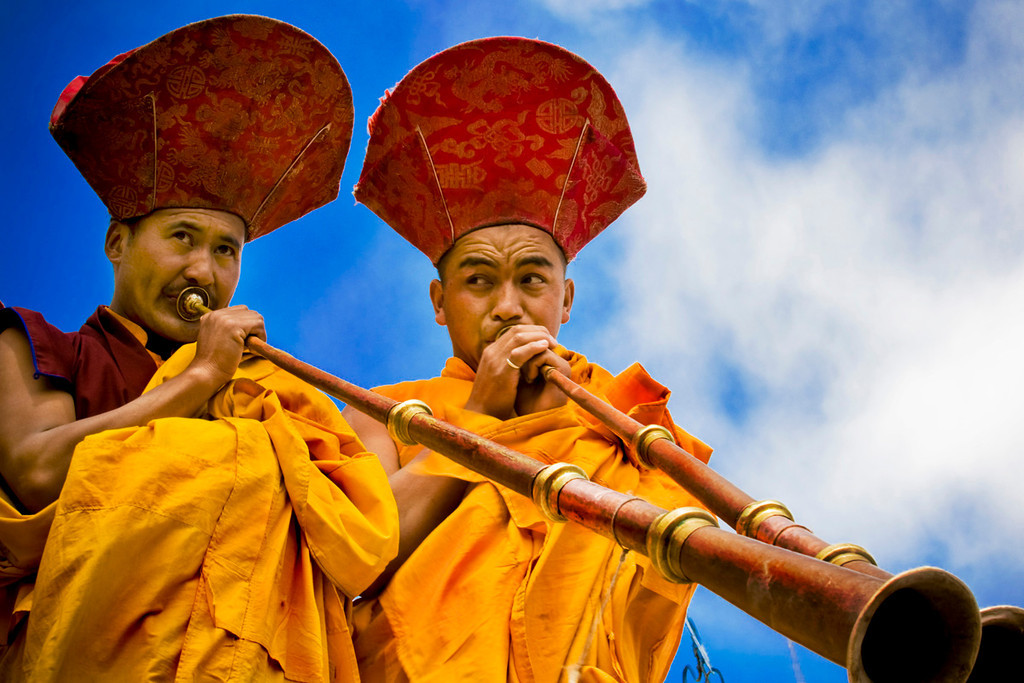 Hemis Monastery, Ladakh.<br /> <br />  A number of Lama musicians play the traditional music with four pairs of cymbals, large-pan drums, small trumpets and large size wind instruments.