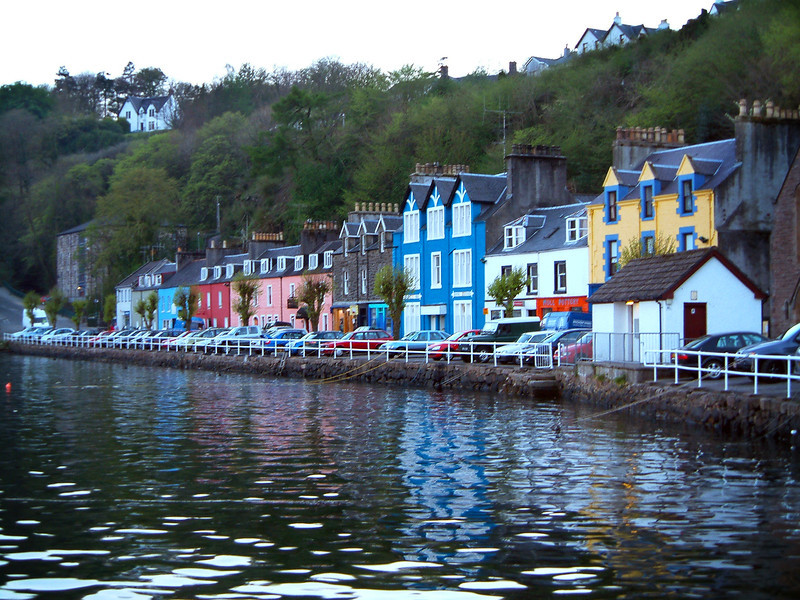 """Tobermory, isle of Mull, Scotland. Visited the distillery on the far side of town.  Bought a bottle of """"Old Toby""""  Took me ten years to drink it."""