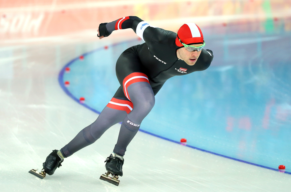 . Haralds Silovs of Latvia competes in the Speed Skating Men\'s 1000m during day five of the Sochi 2014 Winter Olympics at Adler Arena Skating Center on February 12, 2014 in Sochi, Russia.  (Photo by Robert Cianflone/Getty Images)