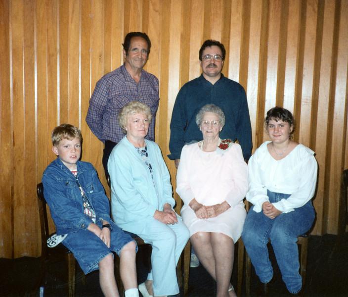 Grandma Wilson and one branch of her family - Noman, Alan, Travis, Velma, Grandma, Rebecca.