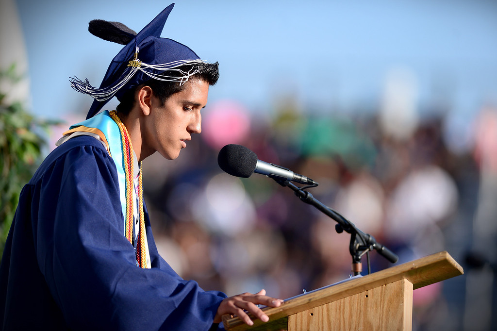 . Senior Class President Dominick Rubio speaks during Duarte High School\'s commencement ceremony Thursday night,  June 12, 2014 at the Duarte school. (Photo by Sarah Reingewirtz/Pasadena Star-News)