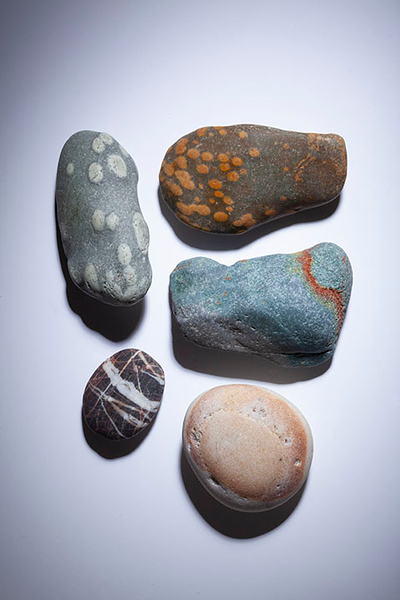 Collection of beach stones