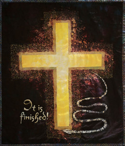 The Victory of the Cross by Betsy Ferraro Art Quilt Wall hanging-dyed,  discharged applique, batik