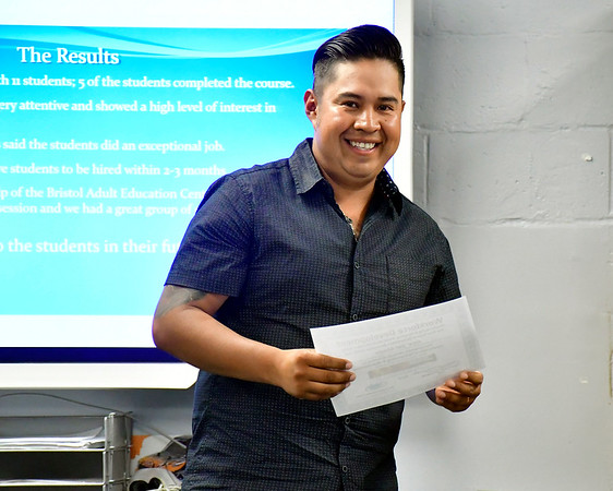 6/27/2019 Mike Orazzi | Staff Bristol Adult Education Workforce graduate Jose' Del Monte during Thursday's' ceremony.