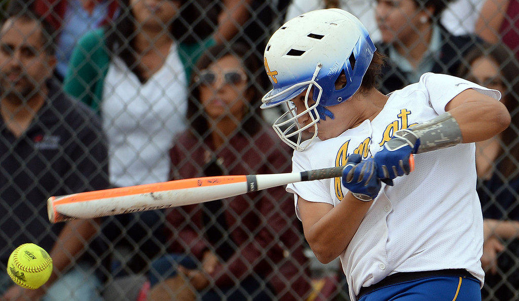 . Bishop Amat\'s Miranda Larios (C) in the first inning of a prep playoff softball game against La Serna at Bishop Amat High School in La Puente, Calif., on Thursday, May 22, 2014. La Serna won 6-0.   (Keith Birmingham/Pasadena Star-News)