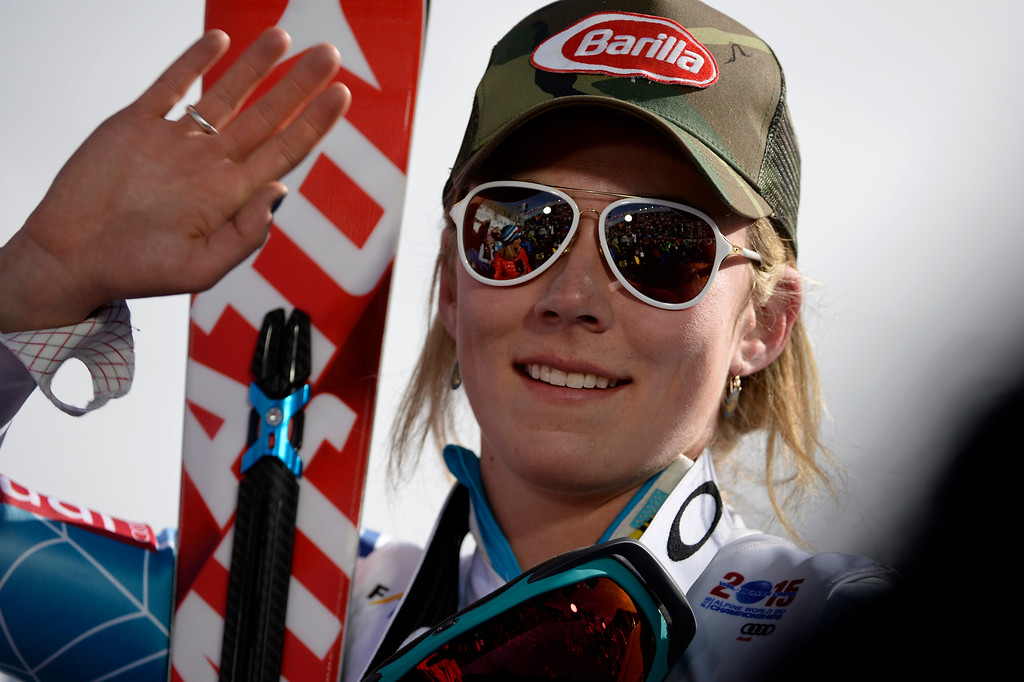 . Mikaela Shiffrin after winning the ladies\' slalom. FIS Alpine World Ski Championships 2015 on Saturday, February 14, 2015. (Photo by AAron Ontiveroz/The Denver Post)