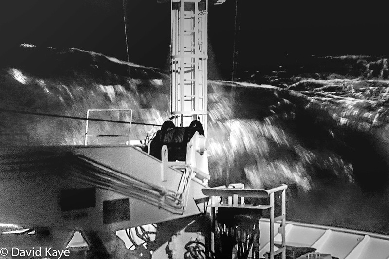 The storm at its worst, Force 10, winds gusting to 70 mph, waves up to 33 feet. It was quite thrilling to watch the boat 's manoeuvres from the bridge.  Thank goodness for Stugeron and modern technology...