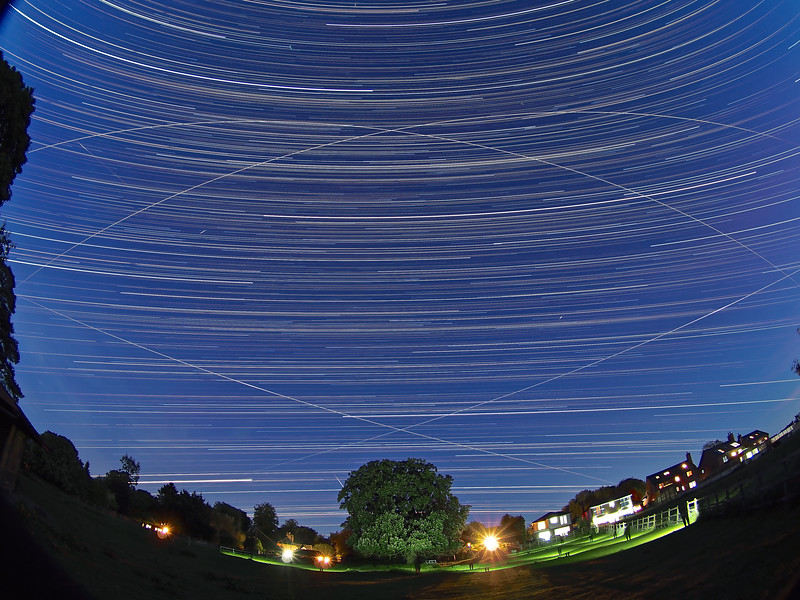 Star Trail with Quad ISS pass