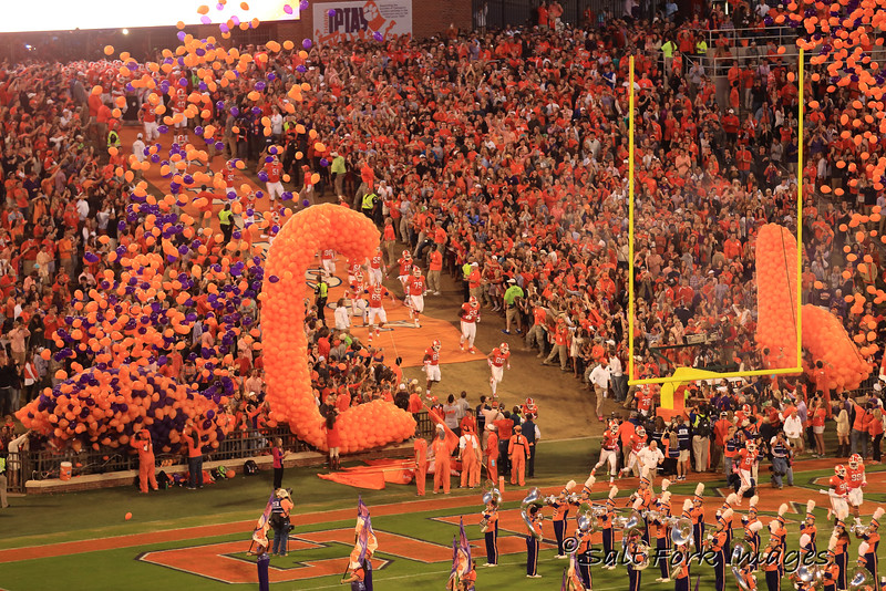 Running down the hill at Clemson University's  Death Valley