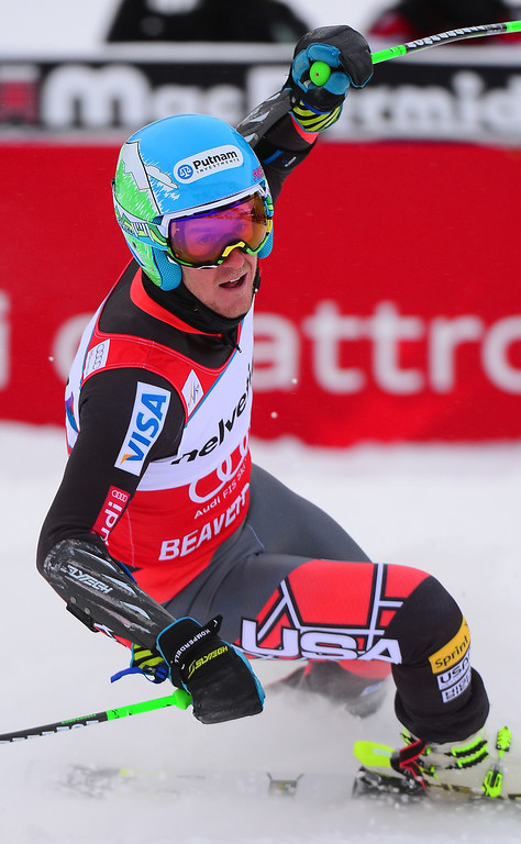 . US Ted Ligety reacts crossing the finish line to win the men\'s giant slalom at the FIS Ski World Cup in Beaver Creek, Colorado, on December 8, 2013.    AFP PHOTO/Emmanuel DunandEMMANUEL DUNAND/AFP/Getty Images