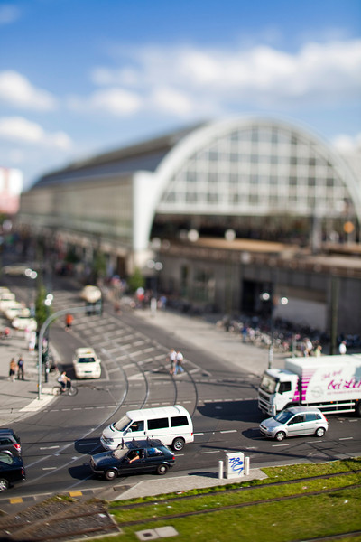 Alexanderplatz railway station from Karl-Liebknecht street, Berlin, Germany. Tilted lens used for shallow depth of field and model effect.