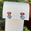 1.38ctw Padparascha Sapphire & Asscher Diamond Twin Stone Earrings 11
