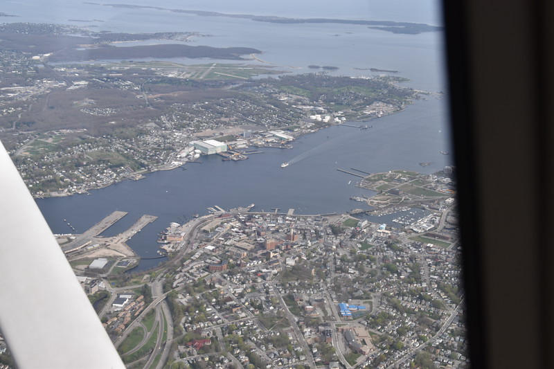 New London (near side of Thames River) and Groton (far side) and Groton airport