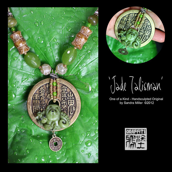 """JADE TALISMAN  I created JADE TALISMAN on Chinese New Year 2012 because this is the Year of the Dragon!!!  This is a fully beaded neck piece and earrings set which starts with the beautiful large Chinese replica coin ...it's actually a vintage replica from the1950s. Dangling below the main focal is also another smaller replica coin.  Nestled at the bottom of this perfect 'stage' I hand sculpted a tiny Faux Jade Dragon and Chow puppy, cuddling together in celebration of the lunar new year. See photo number six about the faux jade technique  The beadwork is just as luscious as the pendant.  There are two handcarved jade, Bamboo section beads, hand faceted green glass beads I brought home from Thailand, real jade rounds from Xian China, and a even more handcarved real jade rounds  The earrings also features matching  faceted glass beads and tiny Chinese replica Coins  This necklace is such a lovely size and goes with so much in your wardrobe .  It is tomorrow's heirloom, one-of-a-kind, and the perfect necklace to wear to your next dog show, dimsum lunch or the office for a real conversation starter!    PENDANT MEASURES  2 1/4 x 2 1/4""""  Beadwork is finished on the back with a chain which adjusts from 16""""-21"""" long. EARRING drops measure 1 1/4"""" long"""