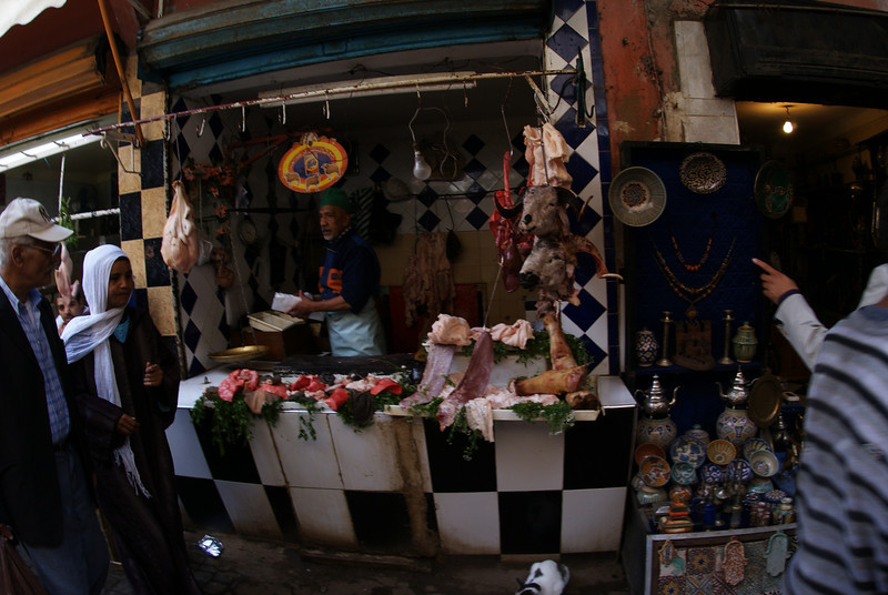 Marrakesh, Morocco.  Those are goat heads.