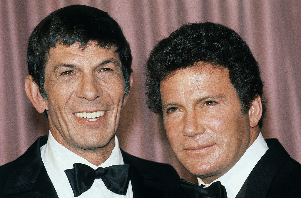. William Shatner (Actor) with actor Leonard Nimoy at the 34th Annual Emmy Awards Banquet in the Century Plaza Hotel on Sept. 19, 1982 in Los Angeles. (AP Photo/Nick UT)