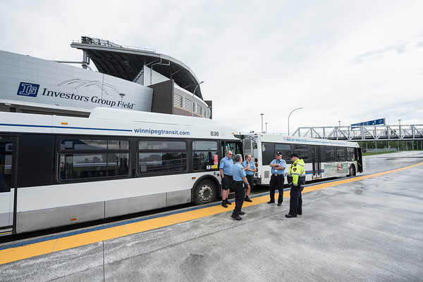 Winnipeg Transit Bus Drivers at the opening of Stadium Station, the first piece of the Southwest Transitway Stage 2,  Tuesday July 4, 2017. (David Lipnowski for Metro News)