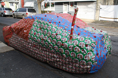 Eric's Car Wrapped with Christmas Wrapping Paper, Shenandoah (12-25-2011)