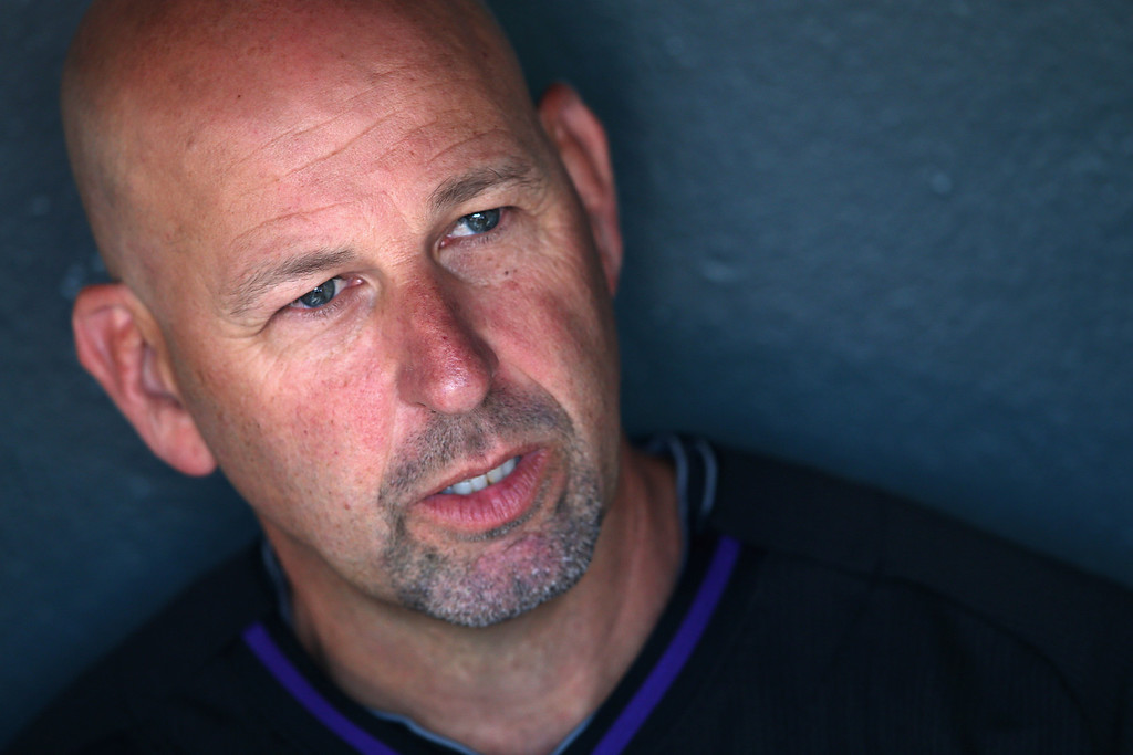 . Manager Walt Weiss #22 of the Colorado Rockies talks to the media prior to facing the New York Mets at Coors Field on May 1, 2014 in Denver, Colorado.  (Photo by Doug Pensinger/Getty Images)