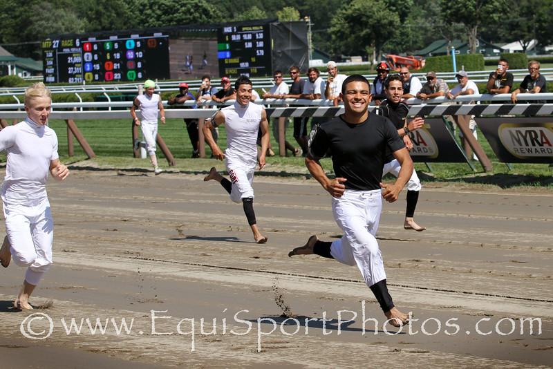 Jockey Luis Saez wins the PDJF Jockey Foot Race at Saratoga Racecourse 7/26/14.