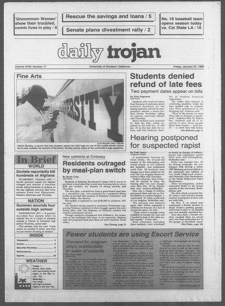 Daily Trojan, Vol. 108, No. 11, January 27, 1989
