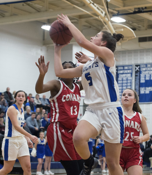01/06/19  Wesley Bunnell   Staff  Southington girls basketball vs Conard on Monday night at Southington High School. Jessica Carr (5).