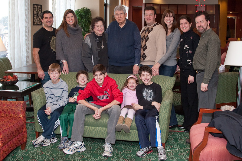 Libman family: front row Josh and cousins. back row (L-R): Stuart  & Heather Kafetz. Elaine & Gerry Libman, Seth & Rachel Berenzweig, Sheryl & David Friedlander -- Joshua Berenzweig Bar Mitzvah weekend brunch (Dec 19, 2010)
