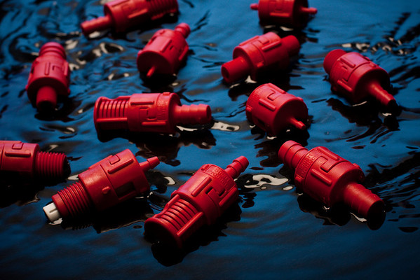 Red Valves in Blue Water