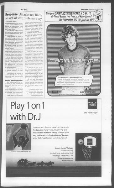 Daily Trojan, Vol. 144, No. 10, September 12, 2001