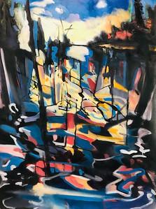 """Long Shadows Across the Lake"" (mixed media) by Hartini Gibson"