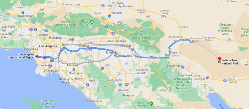 Los Angeles Airport to Joshua Tree Map