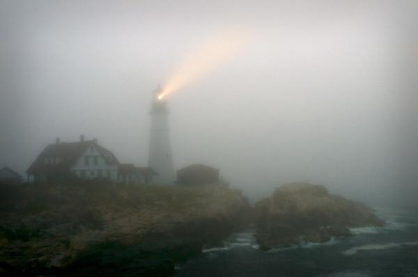 Portland Head Lighthouse in fog-Portland Head Lighthouse-Maine-Cape Elizabeth-United States