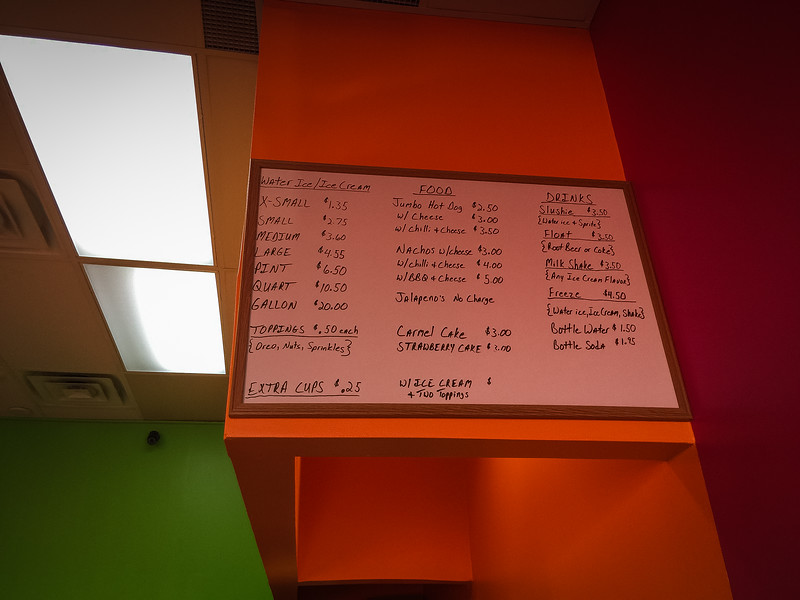 parkers water ice menu
