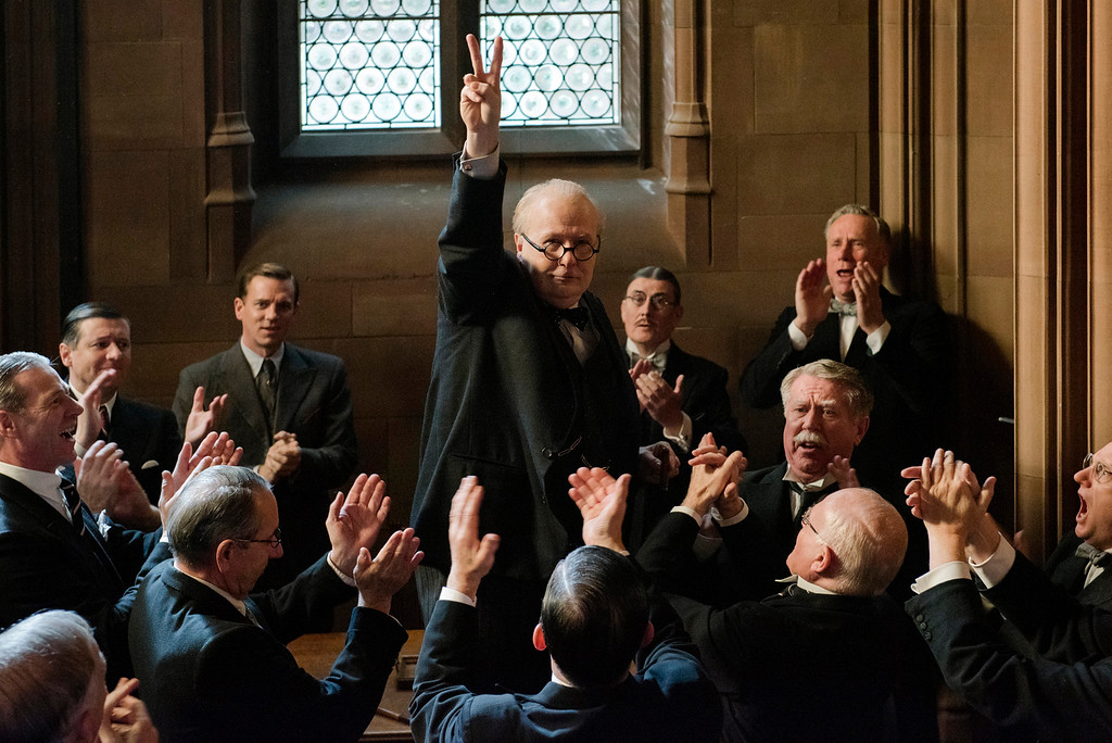 . Gary Oldman portrays Winston Churchill in a scene from �Darkest Hour,� in theaters now. (Focus Features)