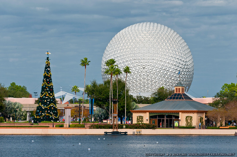 Space Ship Earth and the Epcot Christmas Tree