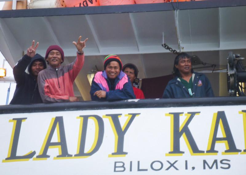 The Hawaiian crew of the Lady Kai, a swordfish boat.