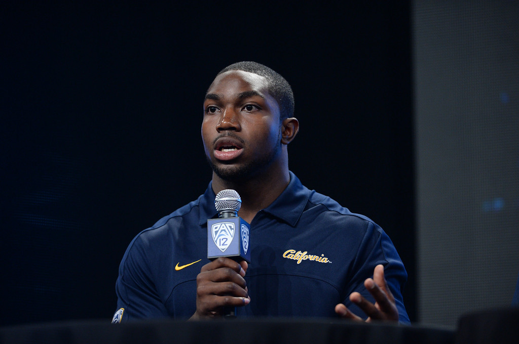 . Cal LB Nick Forbes. Pac12 media Day at Sony Studios.  Photo by Brad Graverson 7-26-13