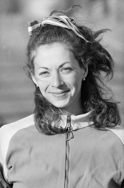 . Twenty-eight-year-old Kathrine Switzer, distance runner from New York, now training April 9, 1975 near her White Plains, N.Y., home for this year\'s Boston Marathon which takes place April 21. (AP Photo)