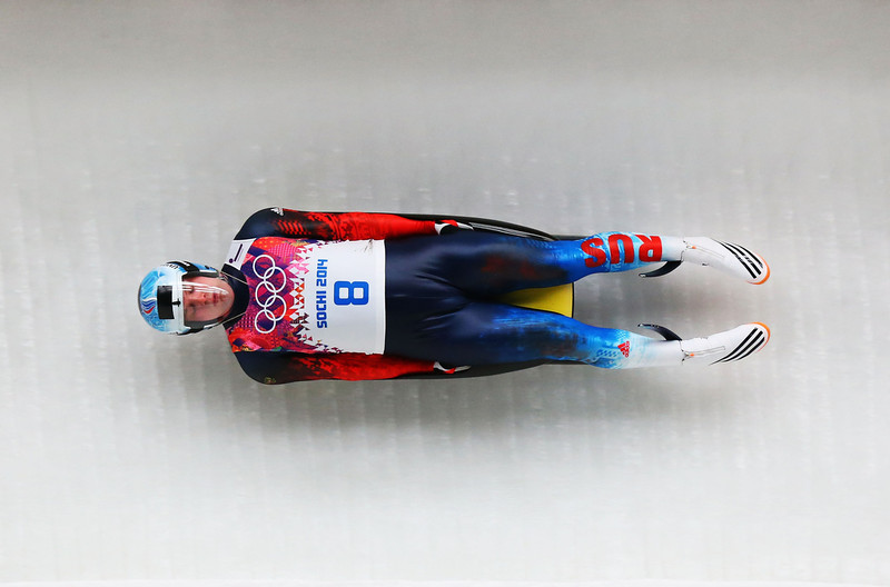 . Semen Pavlichenko of Russia makes a run during the Luge Men\'s Singles on Day 1 of the Sochi 2014 Winter Olympics at the Sliding Center Sanki on February 8, 2014 in Sochi, Russia.  (Photo by Alex Livesey/Getty Images)