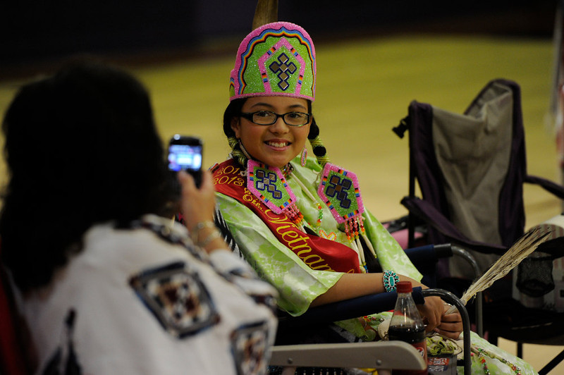 . Samantha Wells, 11, 2011-2013 Southwest Oklahoma Vietnam Veterans Jr. Princess has her picture taken by a relative at the 22nd annual Sand Creek Descendants Gathering in Anadarko Oklahoma Saturday, December 1st, 2012.  Nearly 100 descendants of the Sand Creek Massacre gathered at the Anadarko High School gym for traditional Gourd dancing, food and other activities and also to get updates on legal action towards the U.S. for the massacre which left over 150 Cheyenne and Arapaho Indians dead in southeast Colorado November 29th, 1864. Wells was later crowned at the gathering as the Sand Creek Massacre Descendants Trust Princess, an honor that she will carry on for four years. The Denver Post/ Andy Cross