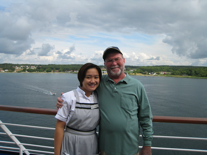 """Our stewardess Daisy, with David, who she called """"Popsy"""""""