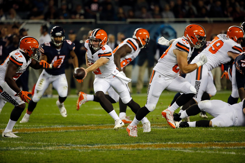 . Cleveland Browns quarterback Kevin Hogan (8) during the second half of an NFL preseason football game against the Chicago Bears, Thursday, Aug. 31, 2017, in Chicago. (AP Photo/Charles Rex Arbogast)