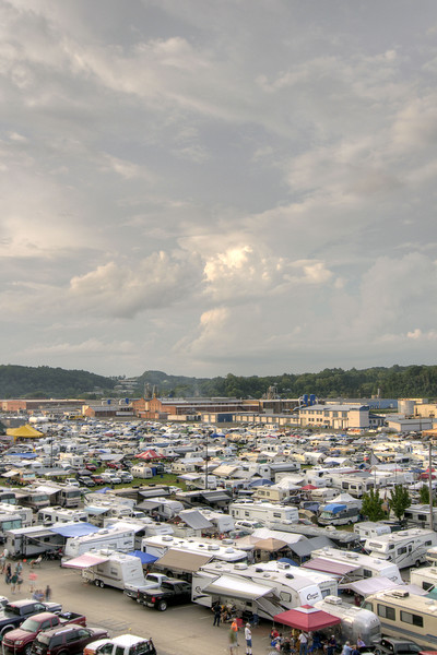 View of hundreds of campers at the 78th Annual Old Fiddlers' Convention in Galax, VA on Friday, August 9, 2013. Copyright 2013 Jason Barnette