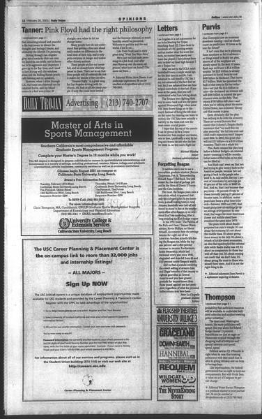 Daily Trojan, Vol. 142, No. 31, February 26, 2001