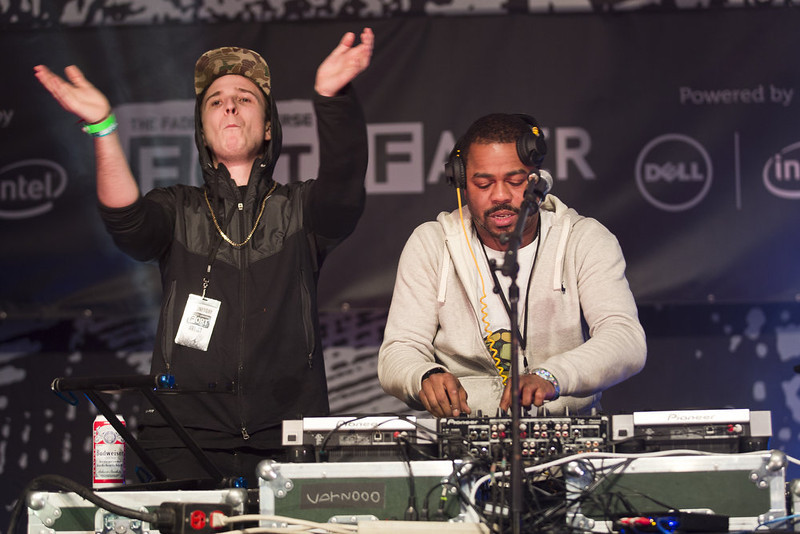 . Just Blaze and Bauuer perform  at the Fader Fort stage on Wednesday March 13, 2013 at SXSW in Austin, Texas.  (AP Photo/Austin American-Statesman, Ricardo B. Brazziell)