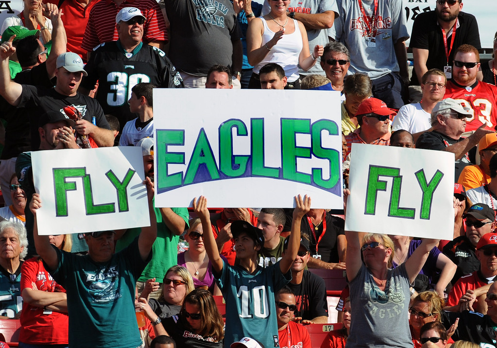 . TAMPA, FL - DECEMBER 9: Fans of the Philadelphia Eagles cheer play against the Tampa Bay Buccaneers  December 9, 2012 at Raymond James Stadium in Tampa, Florida. (The Eagles won 2 - 21. Photo by Al Messerschmidt/Getty Images)