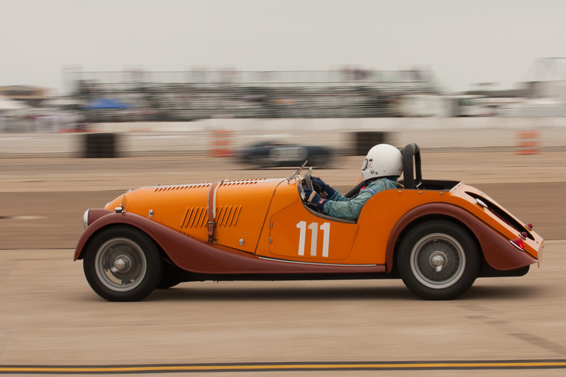Brian Howlett in his 1961 Morgan Plus 4.