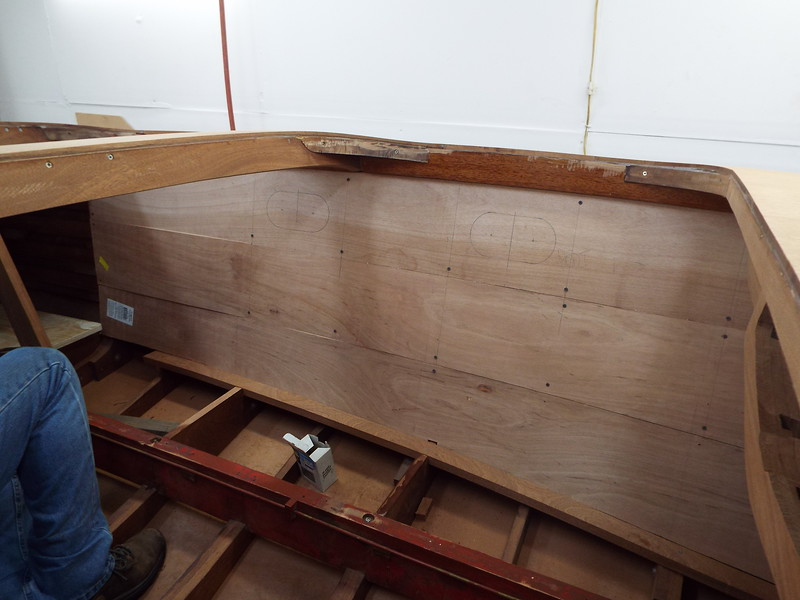 Another view of the liner patterns being fit.